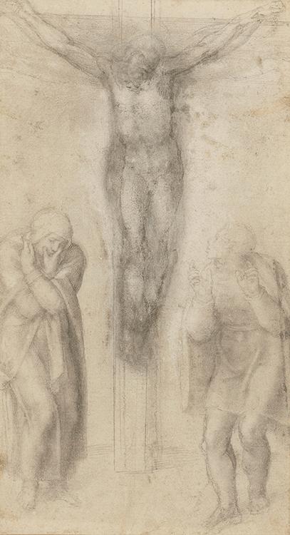«Christ sur la Croix avec La Vierge et saint Jean», <br> Michelangelo Buonarroti, vers 1560-64. <br> © Prêt de Sa Majesté La Reine Elizabeth II